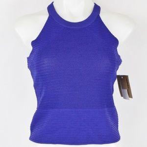 Rachel Roy Blue Knit Crop Top Size Medium